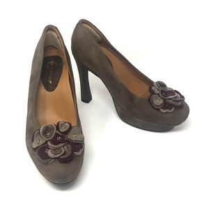 Earthies Monza Leather Suede Platform Heels 7.5